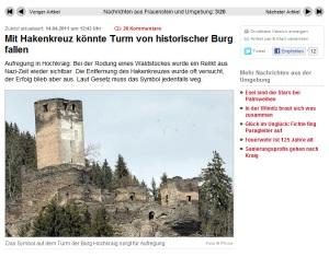 Die Burg mit dem Hakenkreuz-Problem: Screenshot von www.kleinezeitung.at